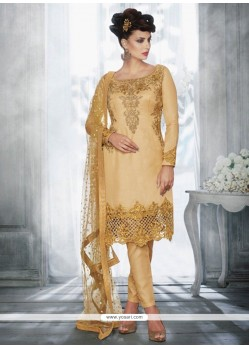 Cute Zari Work Tussar Silk Pant Style Suit