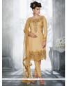 Cute Zari Work Tussar Silk Pant Style Suit
