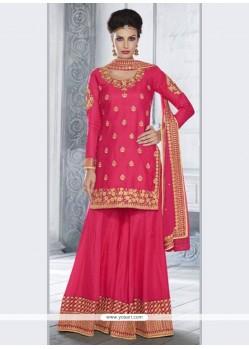 Sparkling Zari Work Tussar Silk Designer Palazzo Salwar Suit
