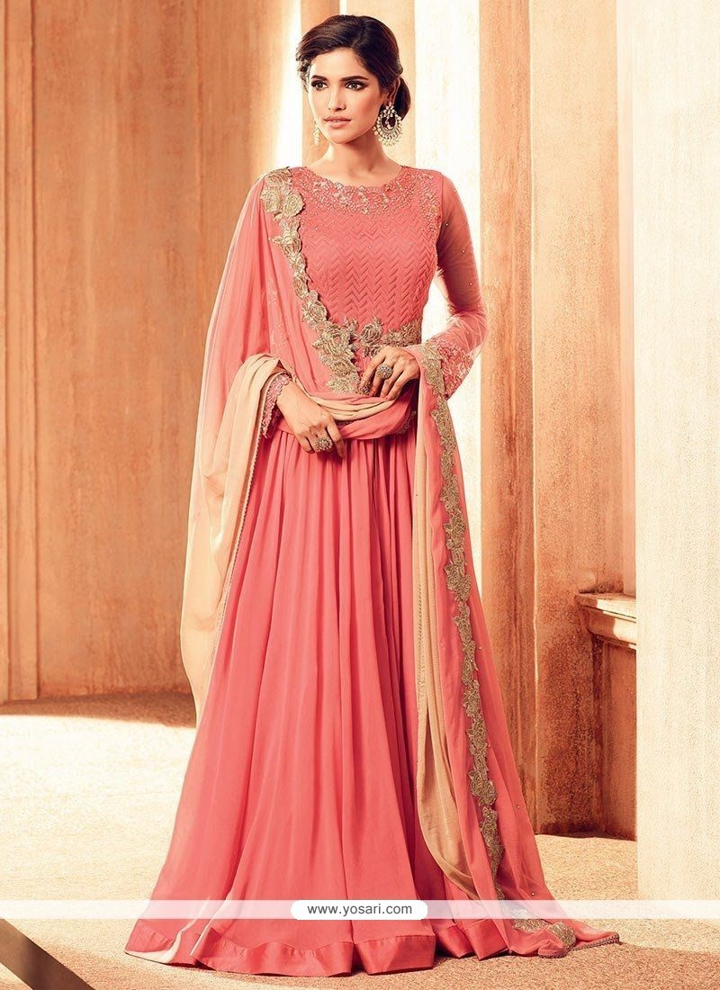 Buy Conspicuous Faux Georgette Floor Length Anarkali Suit