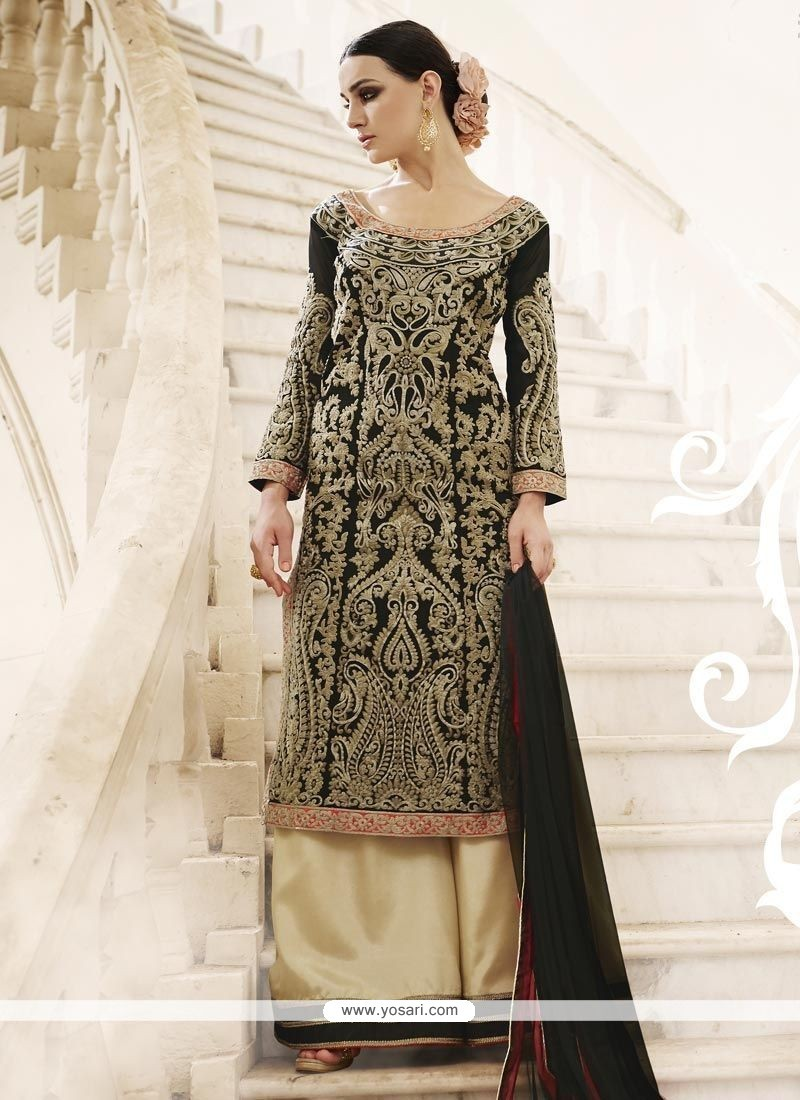 d17e3a7d7f Dignified Embroidered Work Faux Georgette Black Designer Palazzo Salwar  Kameez