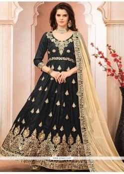 Zari Banglori Silk Floor Length Anarkali Suit In Black
