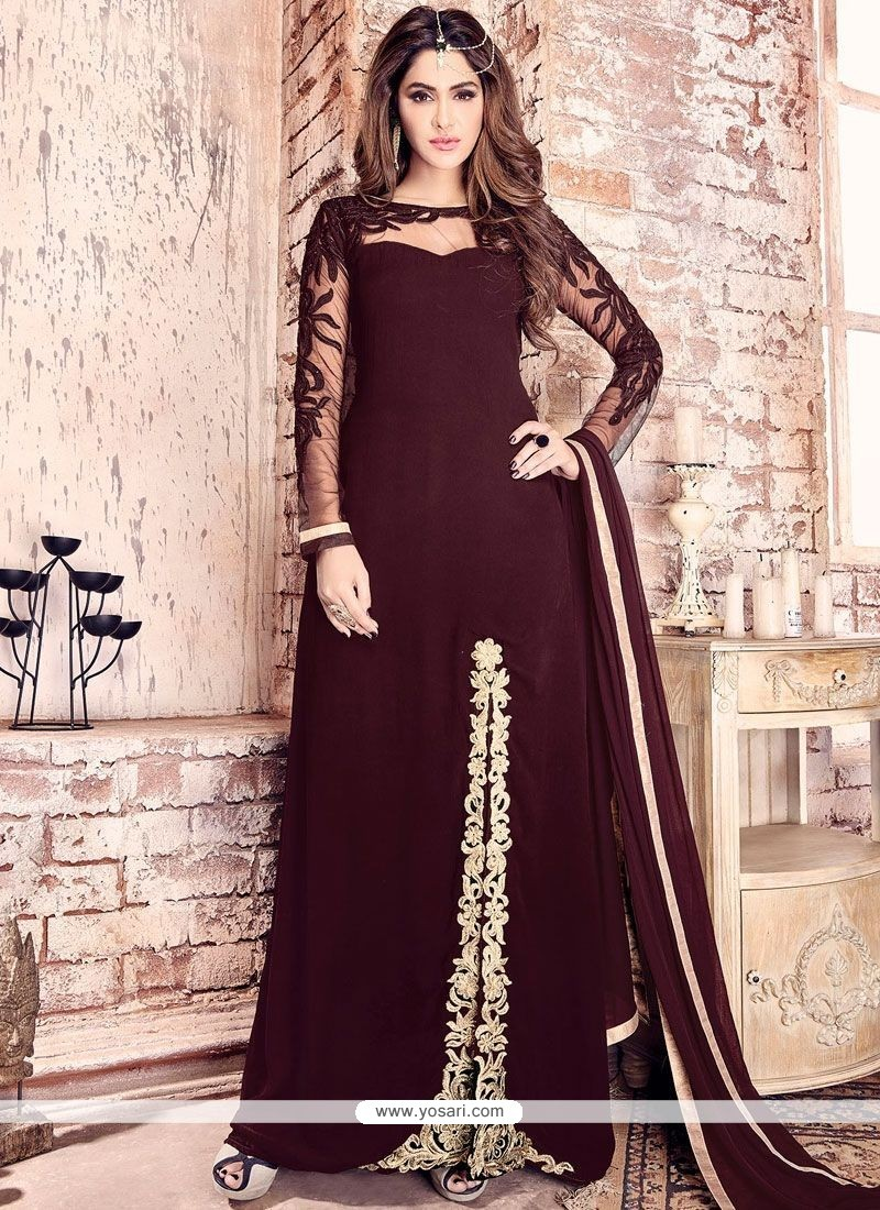 95e0225135 Beautiful Maroon Embroidered Work Faux Georgette Designer Floor Length Suit