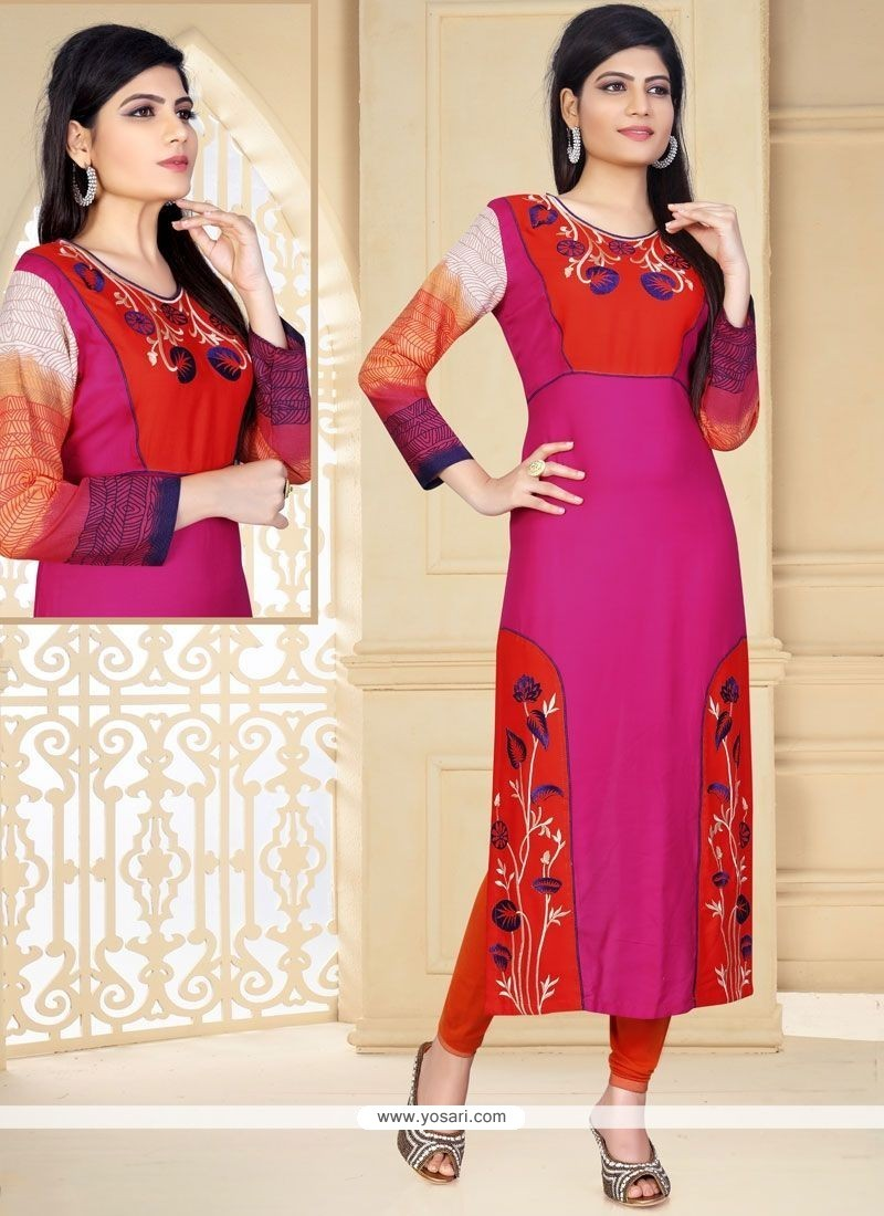 5e47365294a Buy Distinctively Hot Pink Embroidered Work Rayon Party Wear Kurti ...