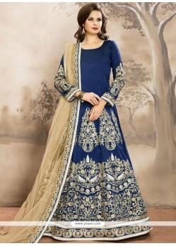 Prime Tafeta Silk Blue Lace Work Floor Length Anarkali Suit