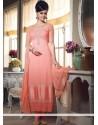 Glorious Peach Georgette Churidar Suit