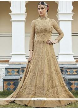 Aristocratic Beige Lace Work Art Silk Floor Length Anarkali Suit