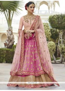 Sophisticated Net Pink Long Choli Lehenga