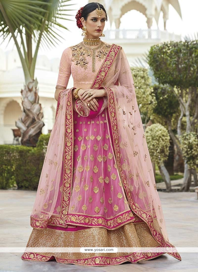 141701f881746c Buy Sophisticated Net Pink Long Choli Lehenga | Wedding Lehenga Choli