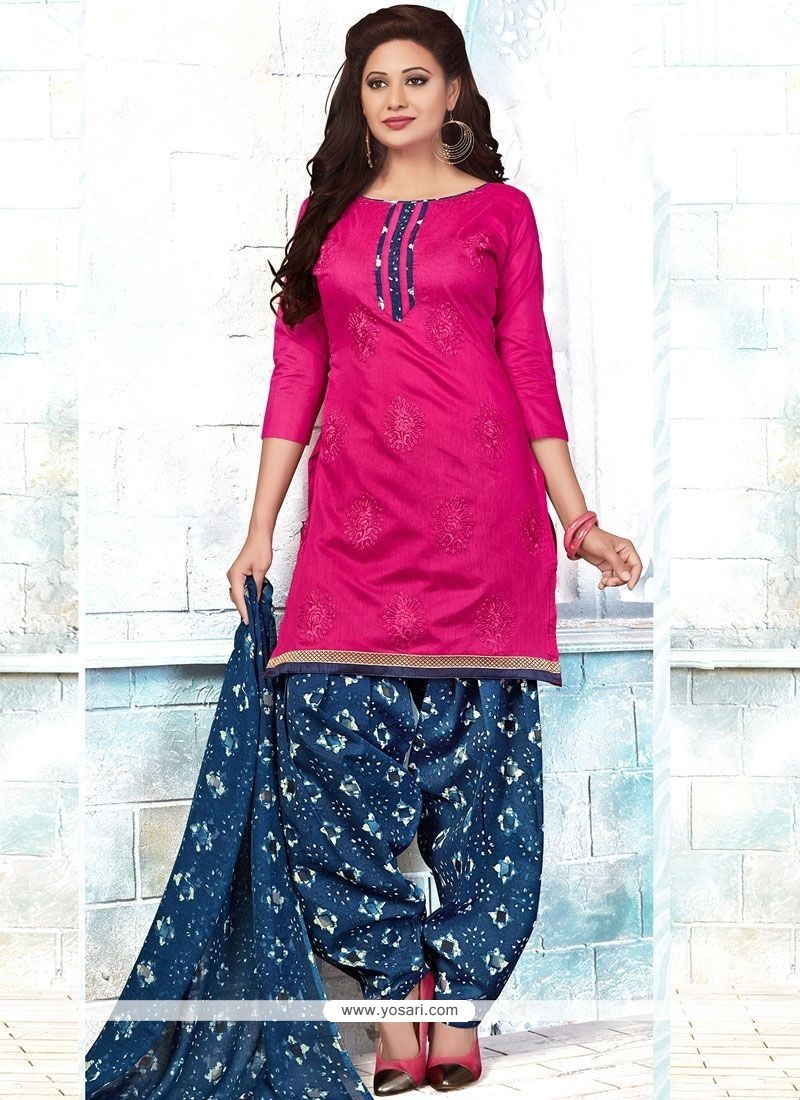d55d9ff522 Buy Embroidered Chanderi Punjabi Suit In Pink | Punjabi Patiala Suits
