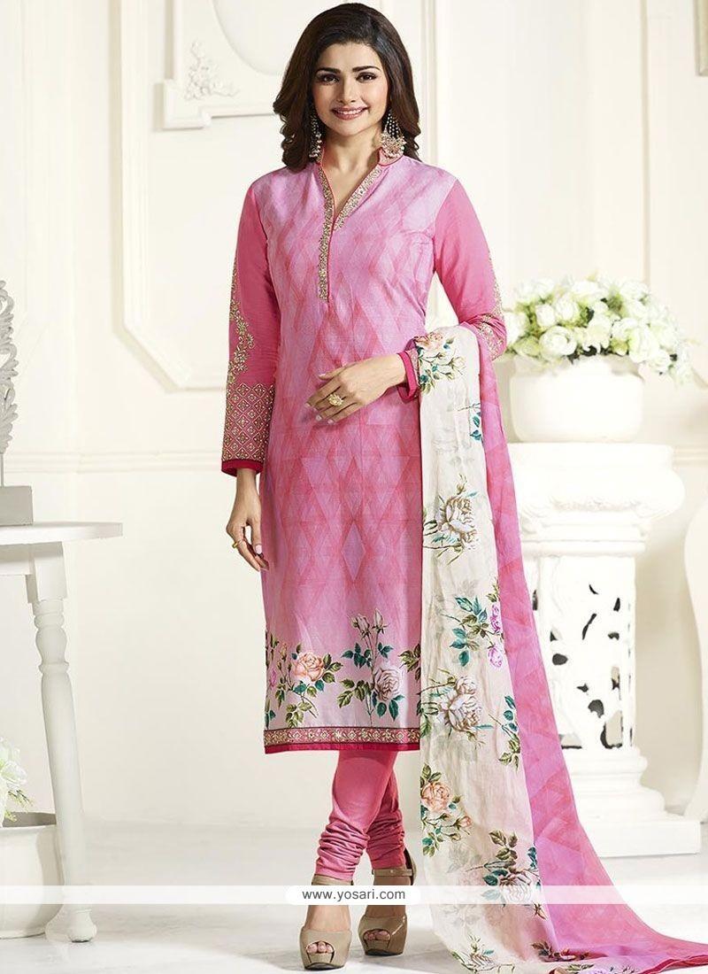 fe89c73341 Buy Pink Cotton Churidar Suit | Churidar Salwar Suits