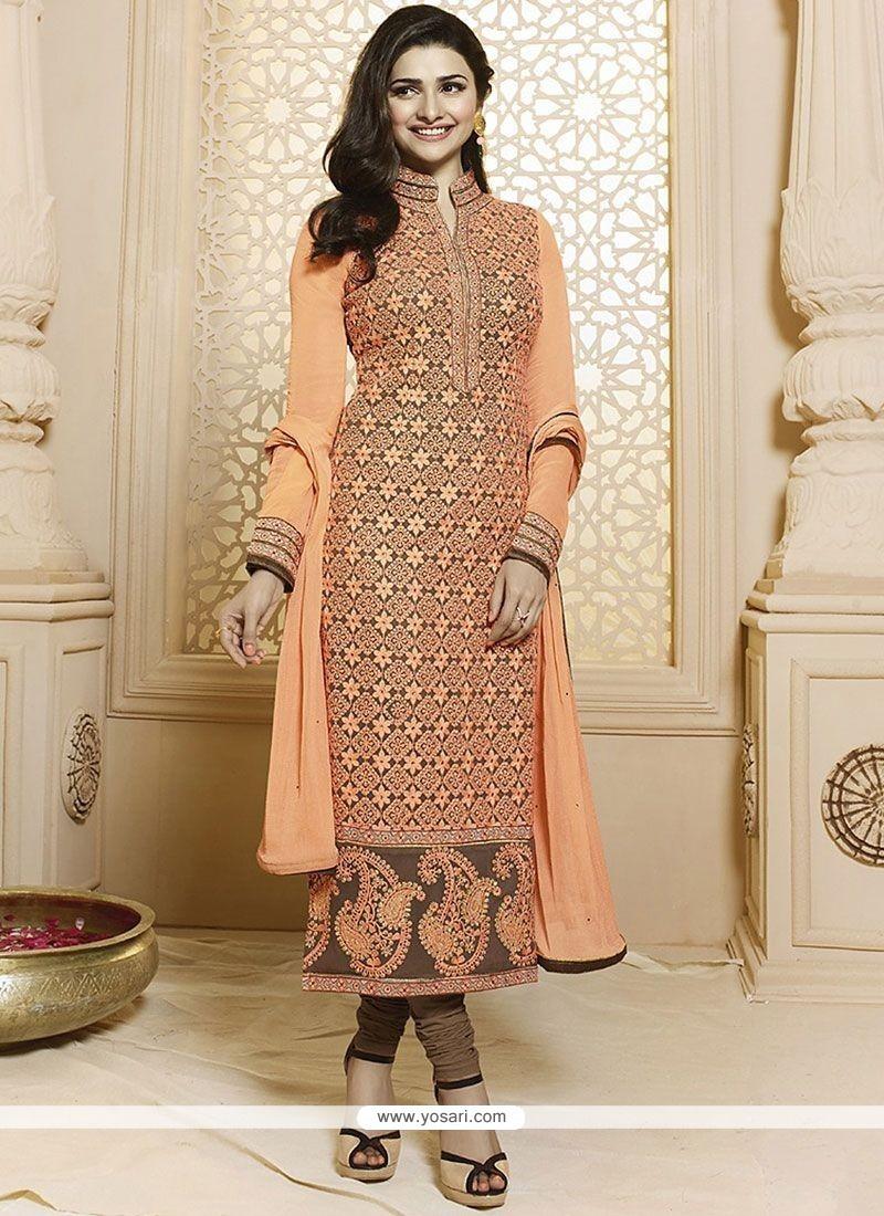 88e620eace Buy Prachi Desai Georgette Orange Churidar Suit | Churidar Salwar Suits