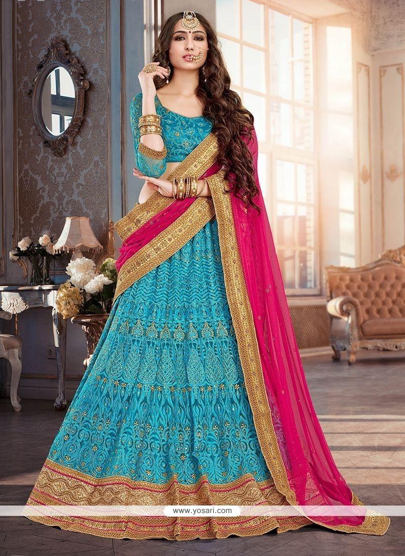 Buy Voluptuous Blue Lehenga Choli | Wedding Lehenga Choli