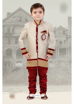 Stunning Maroon And Off White Silk Jacquard Sherwani For Boys