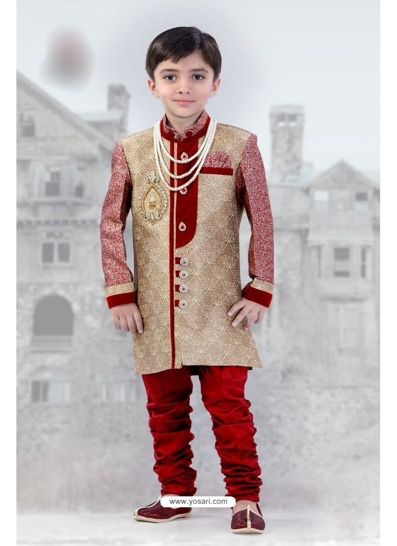 Buy Fantastic Red And Beige Self Design Sherwani Boys