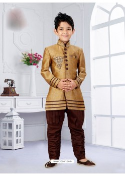 Marvelous Mustard And Brown Indowestern Sherwani For Kids