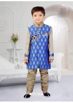 Ornate Blue And Gray Silk Jacquard Boys Sherwani