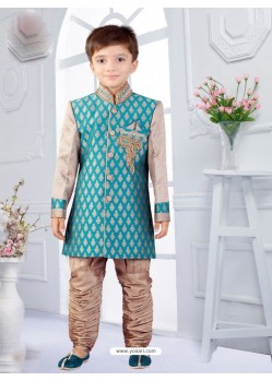 Attractive Teal Blue And Beige Silk Jacquard Boys Sherwani