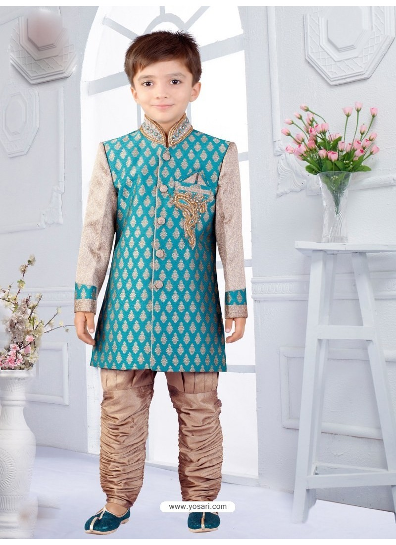 Buy Attractive Teal Blue And Beige Silk Jacquard Boys Sherwani| Boys ...