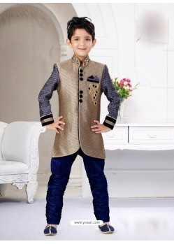 Alluring Navy Blue And Beige Indo Western Sherwani For Kids