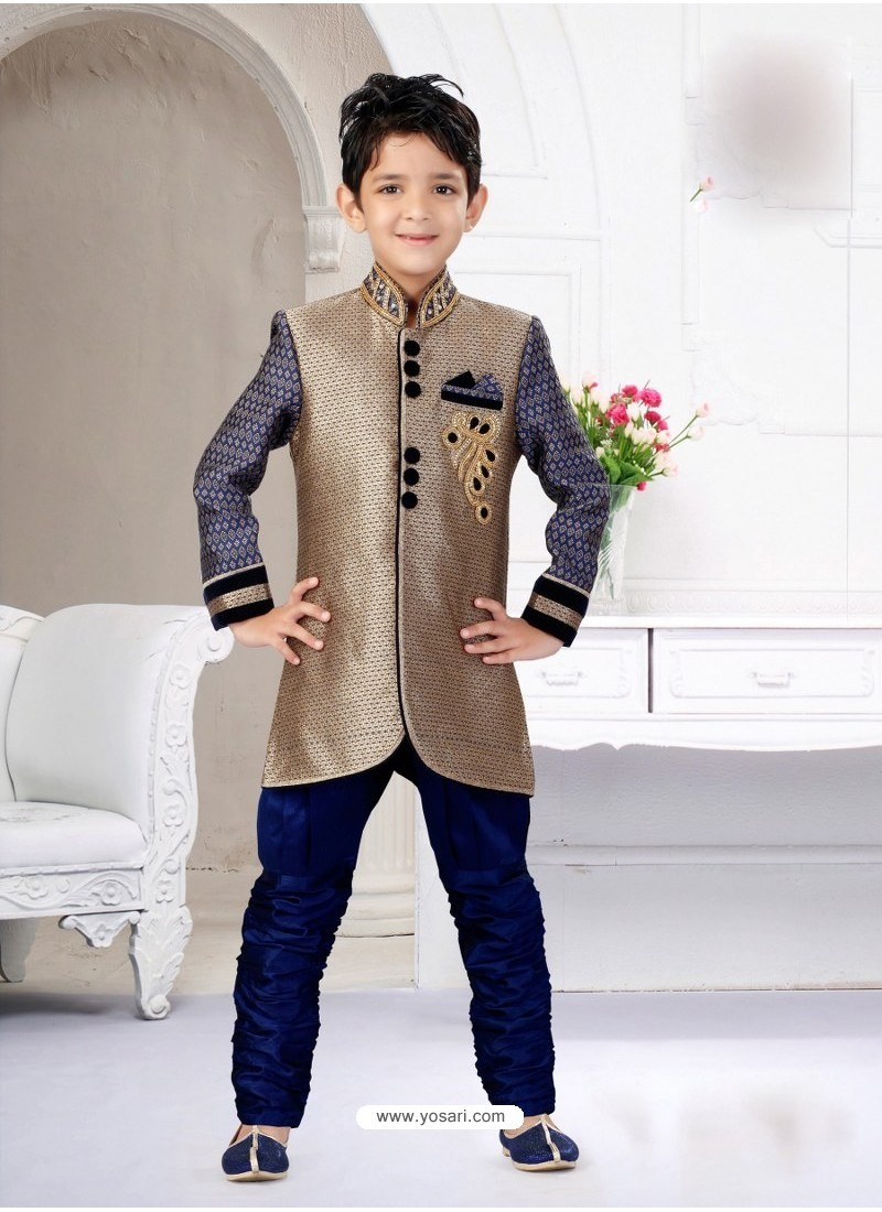 c2ff81a1b7ab7 Buy Alluring Navy Blue And Beige Indo Western Sherwani For Kids ...
