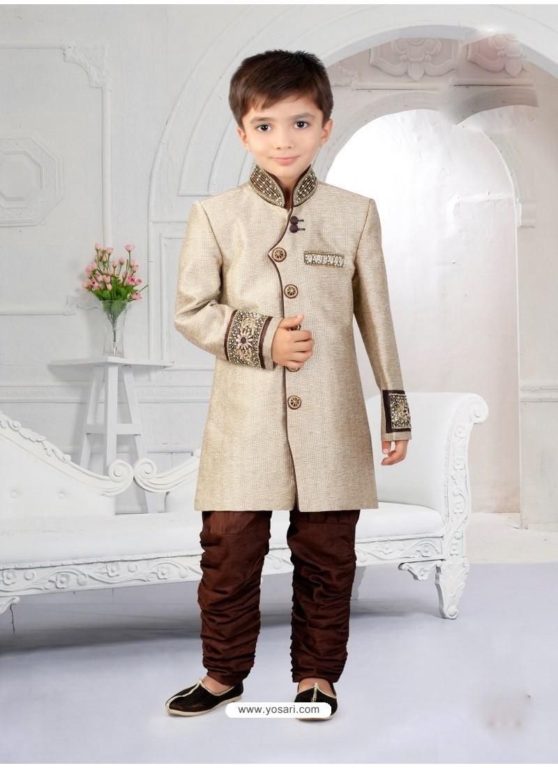 Buy Astonishing Beige Indo Western Boys Sherwani Boys
