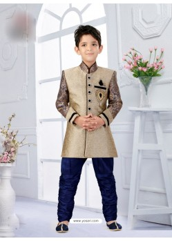 Blooming Blue And Beige Silk Jacquard BoysIndo Sherwani
