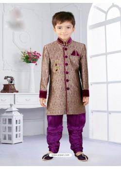 Sizzling Purple Silk Jacquard Indo western Boys Sherwani