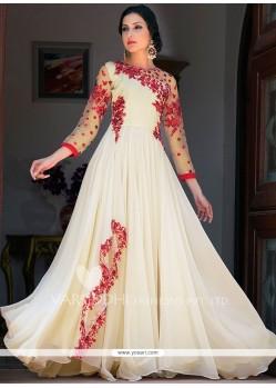 Simplistic Resham Work Faux Georgette Floor Length Anarkali Suit