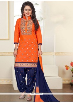 Perfect Navy Blue And Orange Embroidered Work Punjabi Suit