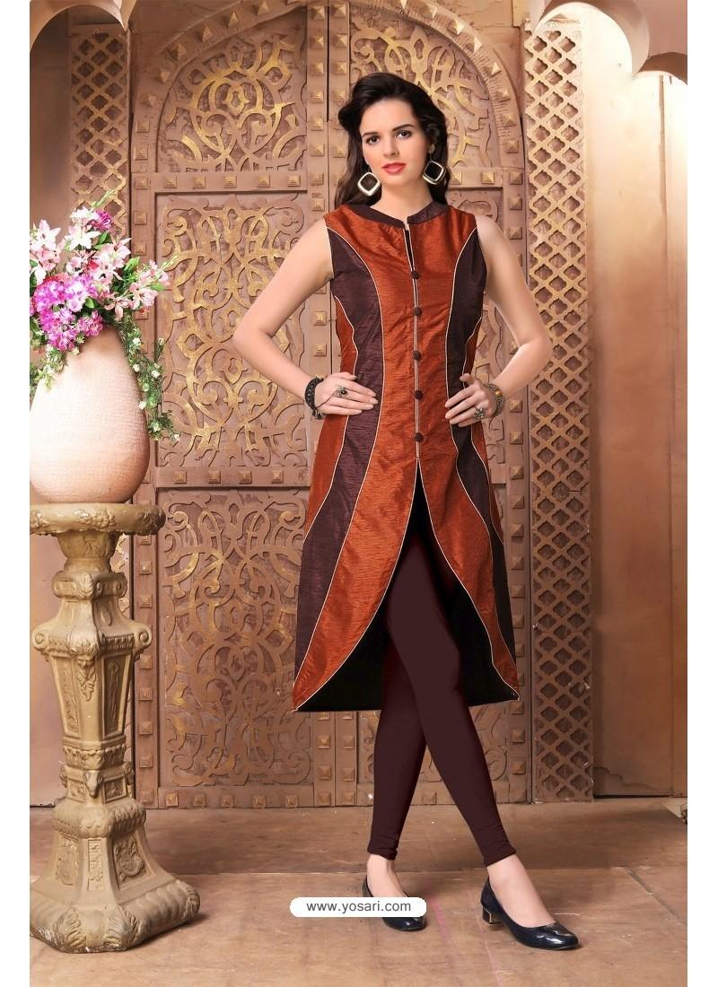 3b534a53b Buy Stylish Brown Banglory Silk Kurti