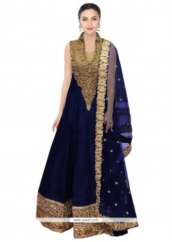 Breathtaking Embroidered Work Navy Blue Net Floor Length Anarkali Salwar Suit