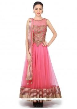 Subtle Net Pink Embroidered Work Anarkali Salwar Kameez