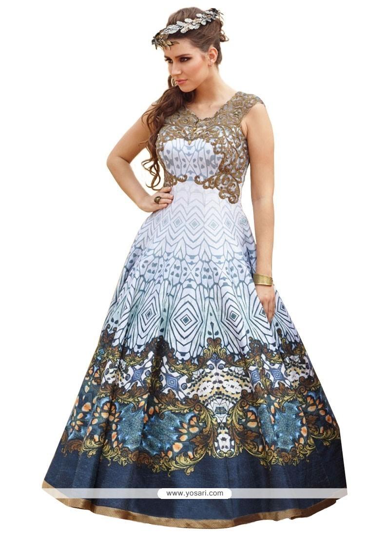 Stunning Digital Print Work Blue Raw Silk Anarkali Salwar Kameez