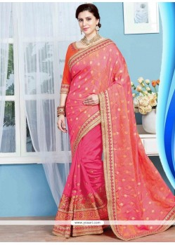 Embroidered Jacquard Designer Half N Half Saree In Rose Pink