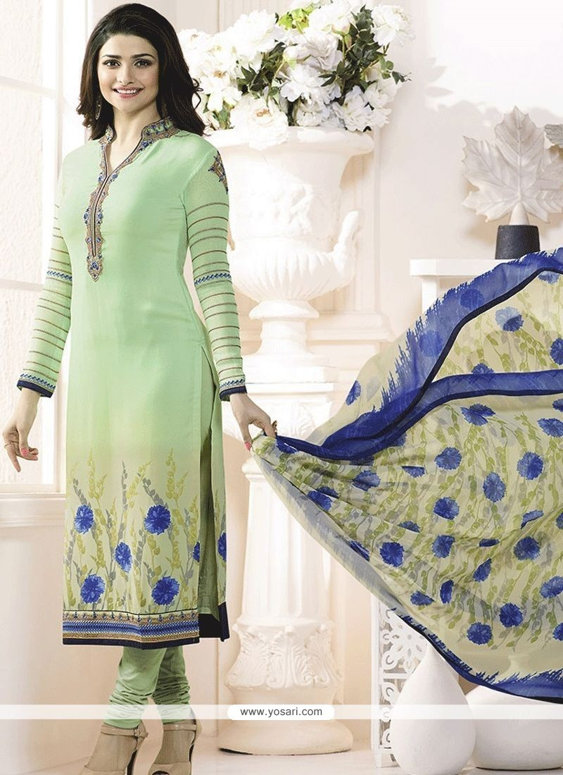 03200103502 Buy Prachi Desai Faux Crepe Sea Green Print Work Churidar Designer ...