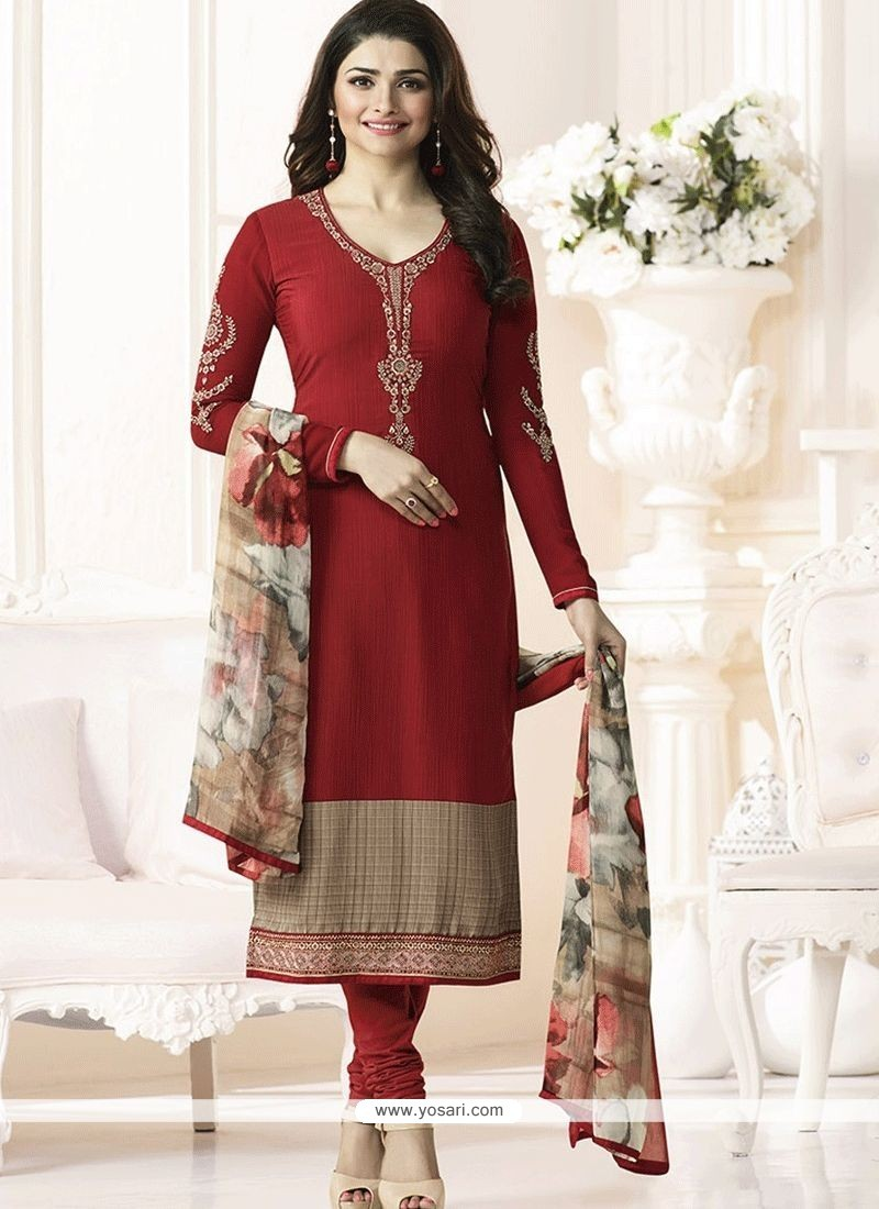 fe0b173948e Buy Prachi Desai Embroidered Work Faux Crepe Churidar Designer Suit ...