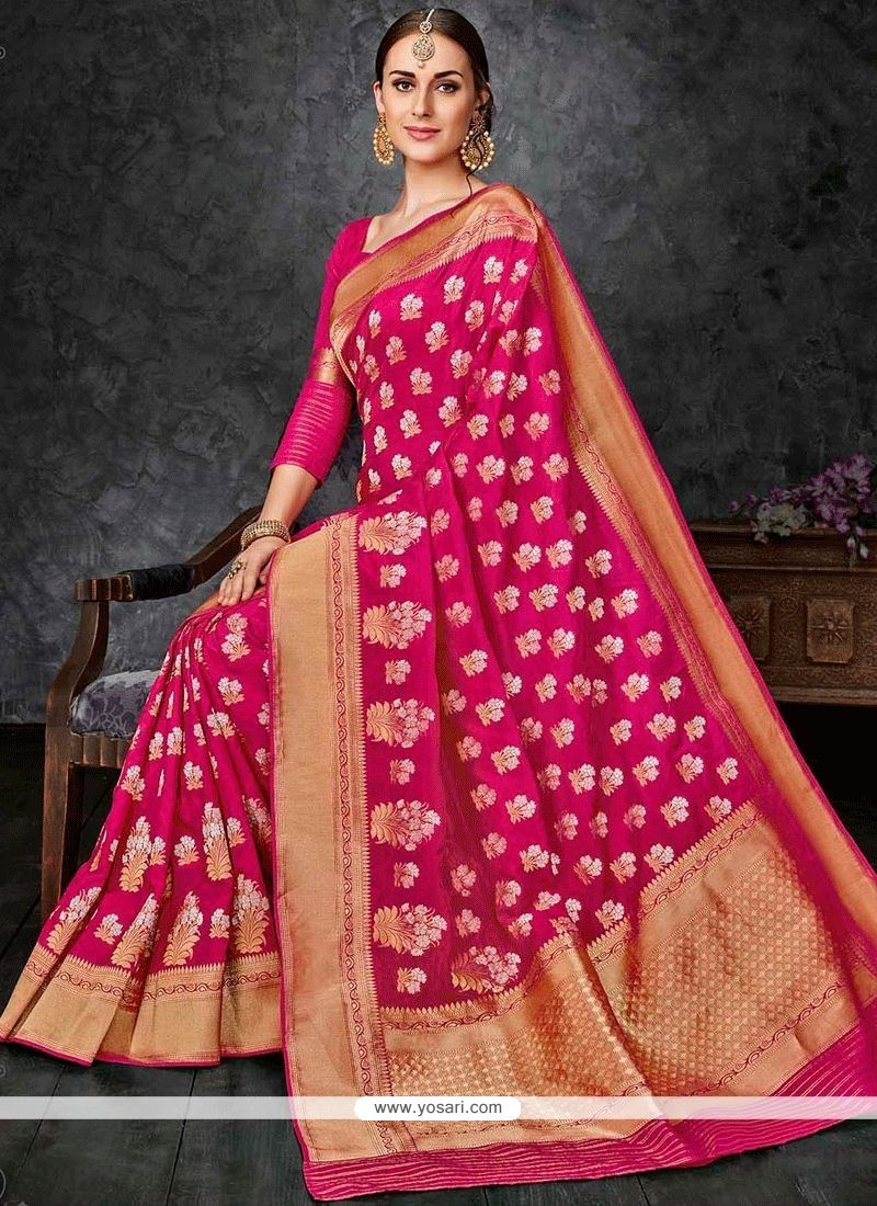 f381b5fc2c Honourable Magenta Weaving Work Banarasi Silk Traditional Designer Saree