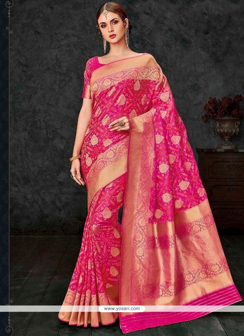 e12a512e1899ae Buy Aspiring Banarasi Silk Hot Pink Traditional Designer Saree ...