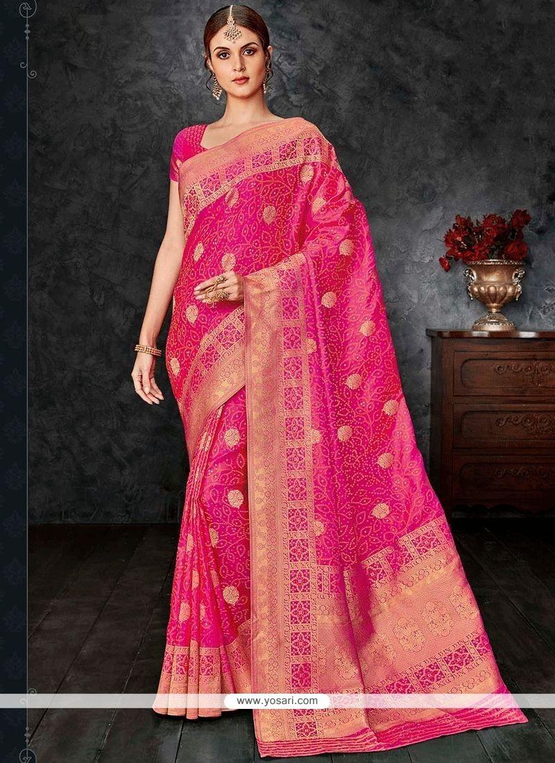8e3e8dd271 Buy Weaving Banarasi Silk Designer Traditional Saree In Hot Pink ...