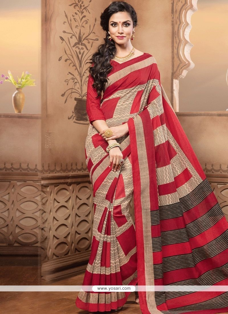 cf8665f6c1 Buy Stunning Multi Colour Print Work Cotton Silk Casual Saree ...