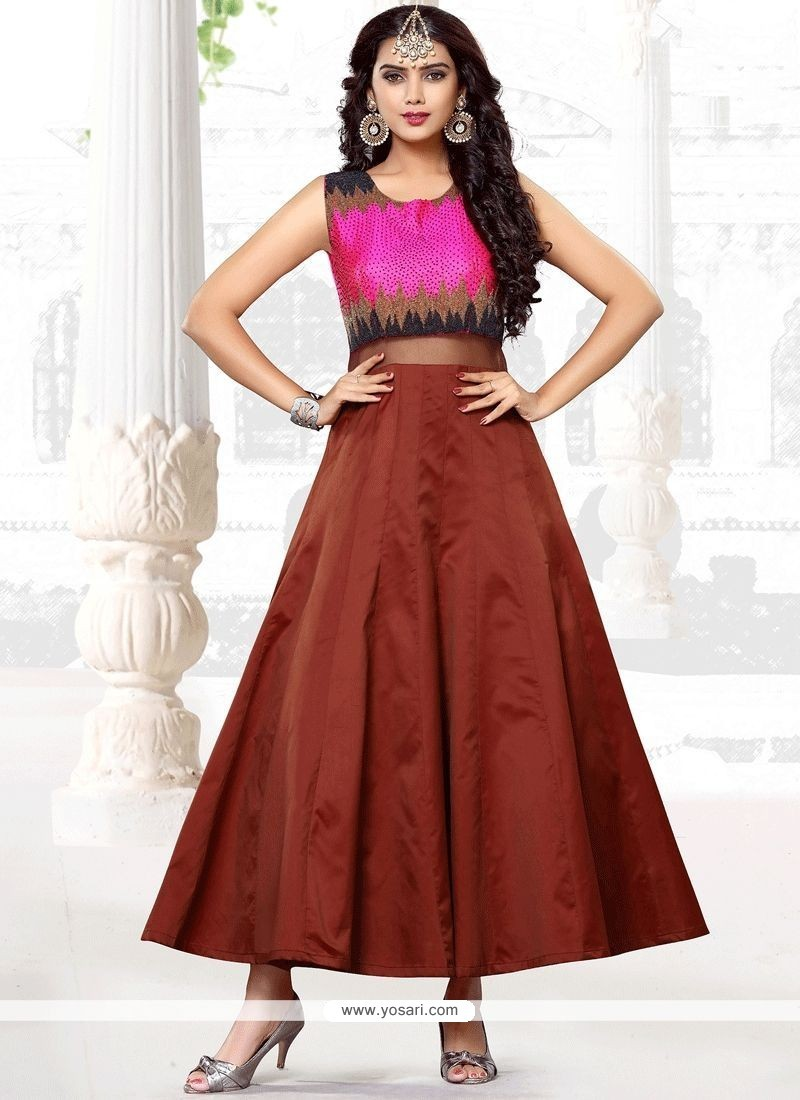 Buy Delightsome Hand Work Work Satin Brown Designer Gown | Gowns