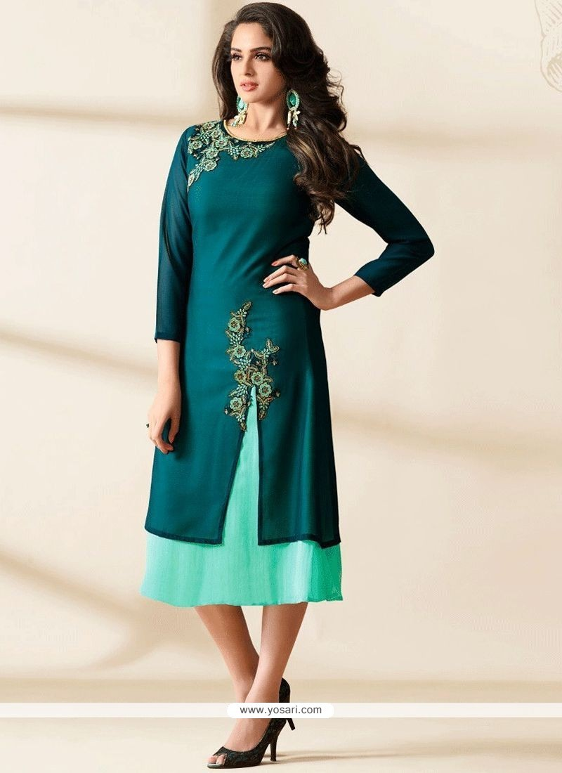 8403c2ccc9 Buy Pleasing Teal Embroidered Work Faux Georgette Designer Kurti ...