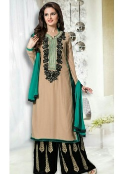 Embroidered Net Floor Length Anarkali Suit In Sea Green