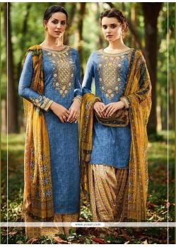 Swanky Print Work Blue Cotton Satin Designer Suit