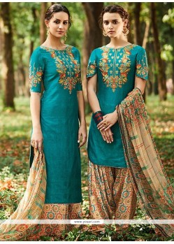 Embroidered Cotton Satin Designer Suit In Aqua Blue