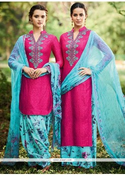Pleasing Print Work Cotton Satin Designer Suit