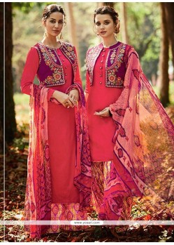 Thrilling Embroidered Work Multi Colour Cotton Satin Designer Suit