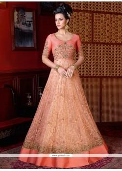 Topnotch Resham Work Peach Net Floor Length Anarkali Suit