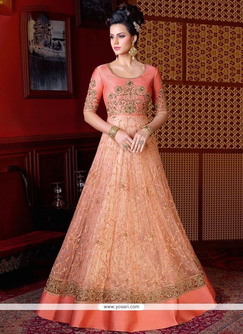 Buy Topnotch Resham Work Peach Net Floor Length Anarkali Suit ...